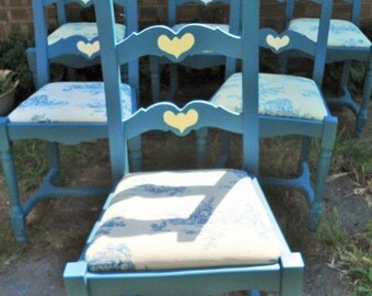 Set Of Six Wooden Dining Room Chairs Hand Painted In Blue Grey With Folk Art Heart