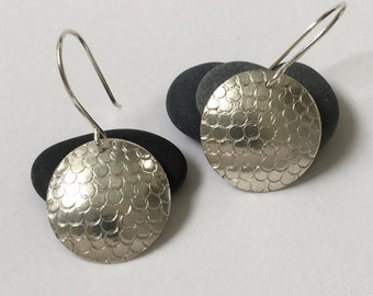 Large hammered silver polka dot disk earrings - large convex round silver disc earrings