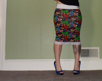Infinite Heroes - Marvel Comics - Pencil Skirt