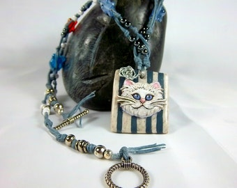 Kitty Cat Necklace, Polymer Clay, White Cat, Dusty Blue, Seed Beads, Button
