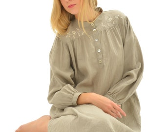 Vintage Inspired Pure Linen Longsleeve Gown With Handembroidered Front and Back Yokes