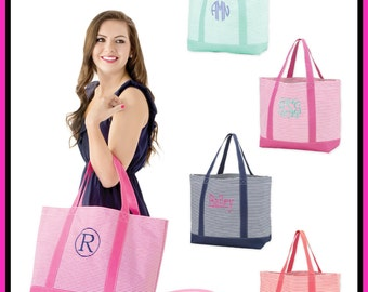 Personalized Tote Bag ~ Monogrammed Travel Bag ~ Striped Tote Bag ~ Great Teen Christmas Gift! ~ Quick shipping!