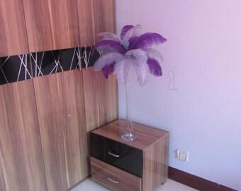 Hot Sale 50 Purple & 50 Silver wedding table centerpiecetable decoration,ostrich centerpiece,ostrich feather centerpiece