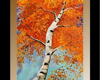 Original Birch Trees Painting Landscape Autumn/Fall  Palette Knife, Textured Blue Brown Gold Red by Nicolette Vaughan Horner