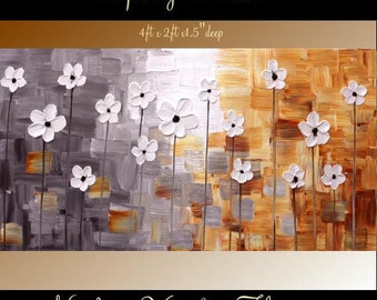 "XL Original Modern 48"" palette knife signature floral impasto oil painting Shades of Grays,whites,rust shades, by Nicolette Vaughan Horner"