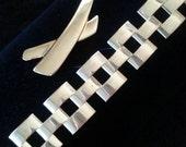NOW ON SALE Napier Signed Vintage Chunky Bracelet & Brooch Pin Set of 2 Demi Parure Designer Signed Mad Men Mod Collectible 50's 60's Vintag