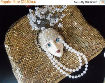 Now On Sale Vintage Porcelaine Rhinestone Face Pin Brooch Faux Pearls