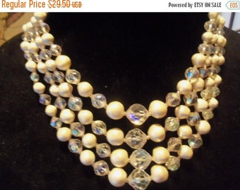 Now On Sale Vintage Beaded Bib Necklace by Laguna 1950's 1960's 4 Strand Glass AB & Faux Pearl Collectible Jewelry Mad Men Mod Accessories