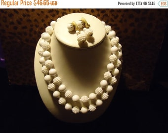NOW ON SALE Vintage White Beaded 2 Strand Demi Parure Necklace Earring Set Made In Hong Kong Mad Men Mod Retro Rockabilly Chunky Jewelry