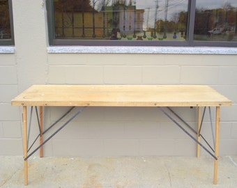 Folding WallPaper Industrial Table Primitive Chic Wood & Iron Architctural Mid Century Eames Era