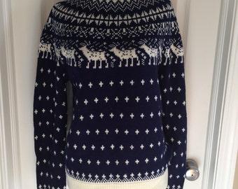 Vintage Christopher Rand sweater navy blue white nordic ski large winter