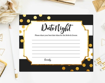 Black and Gold Bridal Shower Games, Date Night Ideas for the Newlyweds, Gold and Black Bridal Shower Games Printable Instant Download BR25