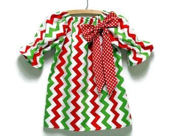 Girls Christmas Chevron Peasant Dress Red Polka Dot Bow Size 3-6 mo, 6-12 mo, 18 mo, 2T, 3T, 4T, 5, 6, 8
