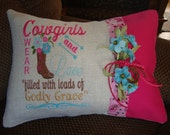 Cowgirl Throw Pillow Cover Girls Western Burlap Throw Pillow Pink Teal Cow Girl Pillow 12 By 16 Size Machine Embroidered