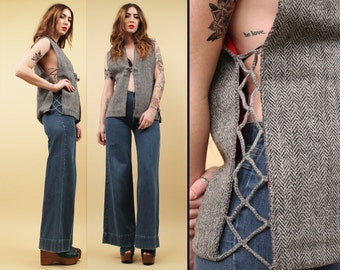 60s 70s Vtg Grey Wool Tweed CORSET Lace Up Vest / Boho Hippie Sleeveless Top with Red Lining / Deadstock  Sm Med