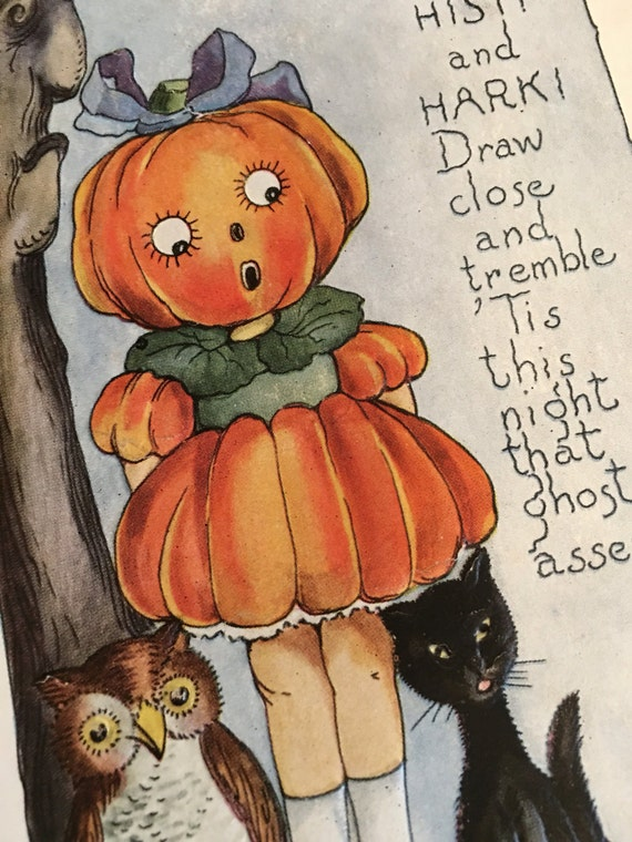 Original 1920 Whitney Halloween Postcard Jack-O-Lantern Girl Black Cat Owl & Crow