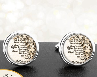 Vintage Map Cufflinks San Fransisco California Cuff Links for Groomsmen Wedding Party Fathers Dads Men