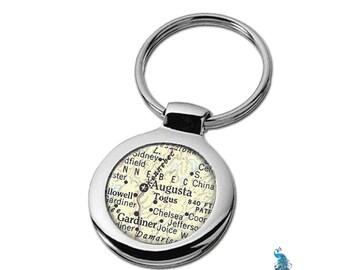 Map Keychain Augusta Maine Key Ring Fob