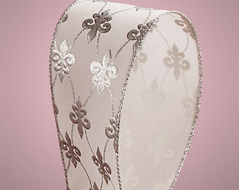 "5YDS x 2-1/2"" Silver & White FLEUR DE LIS Floral Print Wired Edge Ribbon"