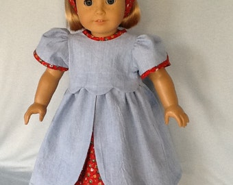 18 inch doll dress and headband. Fits American Girl Dolls.  Blue chambray and red calico.