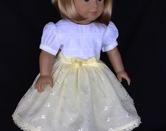 18 inch doll dress, half slip, and hair clip. Fits American Girl Dolls.  Eyelet embroidery with white trim.