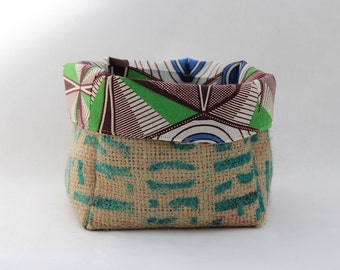 Upcycled Coffee Sack and African Wax Print Slouch Storage Basket Medium