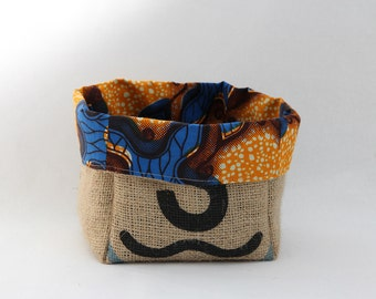 Upcycled Coffee Sack and African Wax Print Slouch Storage Basket Small
