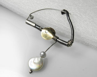 wedding jewelry, unique mixed metal pin, pearl jewelry, wedding gift