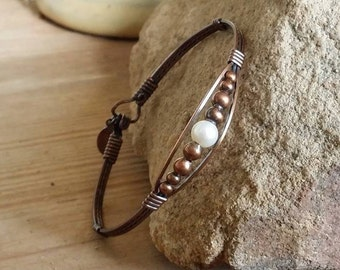 Pearl Jewelry, Pearl Bracelet, Copper Bracelet, Copper and pearls, Wire wrapped, Wire Jewelry
