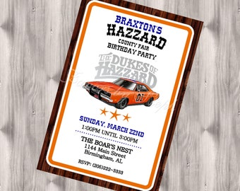PRINTED qty 30 Dukes of Hazzard Birthday Invitations