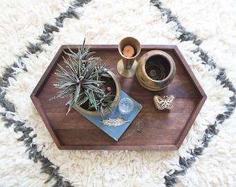 Wooden Hexagon Tray - Walnut Wood Centerpiece Long Tray Modern Rustic Decor Geometric Tray Handmade