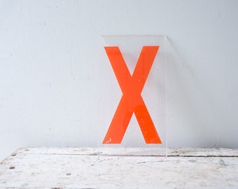 Vintage Letter X - Marquee Plastic Letter X Sign Orange Letter X Vintage Marquee Letter Kiosk