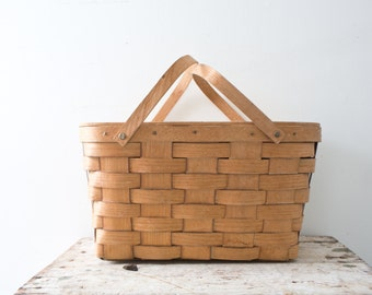 Picnic Basket - Brown - Wicker Woven Wooden Natural Lunch Outdoors Wooden Vintage Basket with Handles