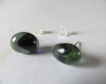 Silver Stud Earrings in gray blue glass from the Netherlands- Earstuds of glass-free shipping- mens ear studs