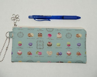 """Padded Zipper Pouch / Pencil Case / Cosmetic Bag Made with Japanese Cotton Oxford Fabric """"Petit Gateau"""""""
