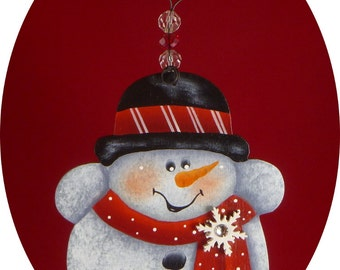 Snowman Ornament Snowflake Hand Painted Wood
