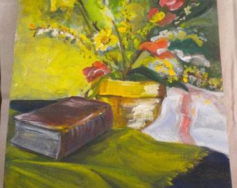 vintage oil/acryllic painting unframed art vintage painting antique oil painting vintage unframed painting