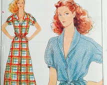 Butterick 6463, Size Petite, Small, Medium, Misses' Top, Belt and Dress Pattern, UNCUT, Vintage,Loose Fitting Top and Dress,Retro,Fast, Easy