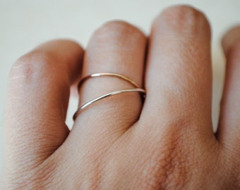 Silver and Rose Gold Ring Set/Thin Stacking Rings/Tiny Ring Set/Pink Gold/Custom Teeny Weenie Ring Duo*Sterling Silver and Rose Gold Filled*