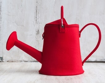 Watering Can/ Watering Pot Bag Garden Bright Red Felt Bag