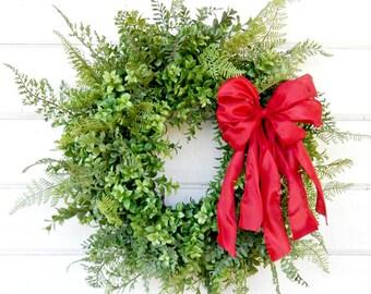 Boxwood Wreath-Summer Wreath-BOXWOOD & FERN Wreath-Holiday Wreath-Farmhouse Wreath-Outdoor Wreath-Year Round Wreath-Farmhouse Decor-Gifts