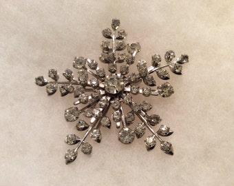 Snowflake Rhinestone Vintage Brooch