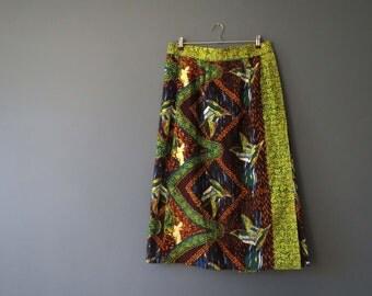 Vintage 80s Batik Hand Block Print Cotton Skirt Flying Duck Print Large