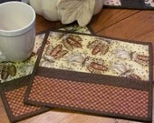 Quilted Mug Rugs Fall Colors Indian Corn Fabric Mug Mats Brown and Rust Check Accent Fabric Totally Quilted Thanksgiving Set of Two Mug Rugs