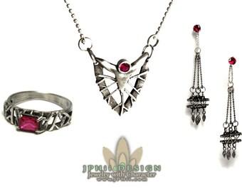 Custom Silver Filigree Reclaimed Vine Engagement Ring Set
