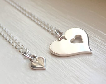 Mother Daughter Necklaces Set of Two Heart Sterling Silver Jewelry Gift for Mom Daughter Best Friends