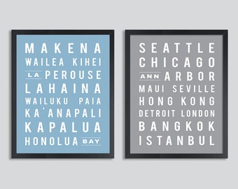 Custom Subway Art, Travel Poster, Subway Sign, Anniversary Gift, Set of two prints (street names, favorite cities and places )