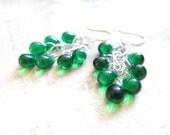 Emerald Green Chandelier Silver Chain Teardrop Earrings TCJG