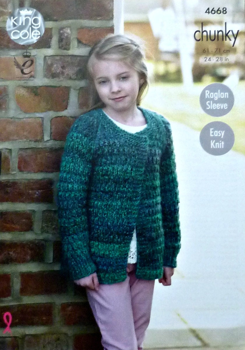 Girls knitting pattern k4668 girls easy knit long sleeve edge to girls knitting pattern k4668 girls easy knit long sleeve edge to edge cardigan knitting pattern chunky bulky king cole bankloansurffo Images