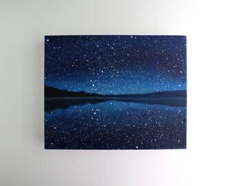 Night Sky Lake Painting - 8 x 10